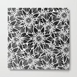 Modern Elegant Black White Tangle Flower Drawing Metal Print