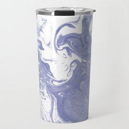 Nanami - spilled ink water pisces wave marble pattern marbling japanese watercolor Travel Mug