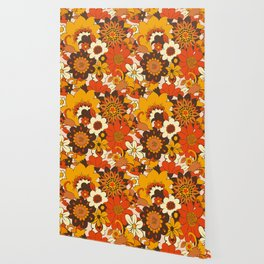 Retro 70s Flower Power, Floral, Orange Brown Yellow Psychedelic Pattern Wallpaper