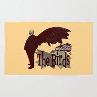 hitchcock Area & Throw Rugs featuring Alfred Hitchcock  |  The Birds by Silvio Ledbetter