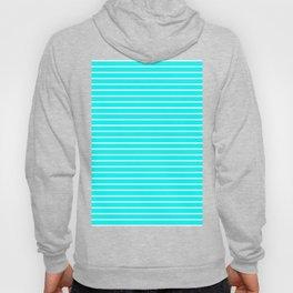 Horizontal Lines (White/Aqua Cyan) Hoody