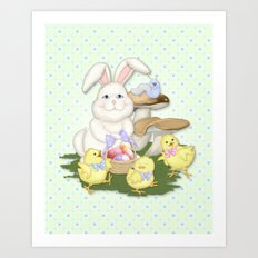 White Rabbit and Easter Friends Art Print