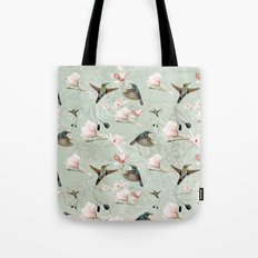 Vintage Watercolor hummingbird and Magnolia Flowers on mint Background Tote Bag
