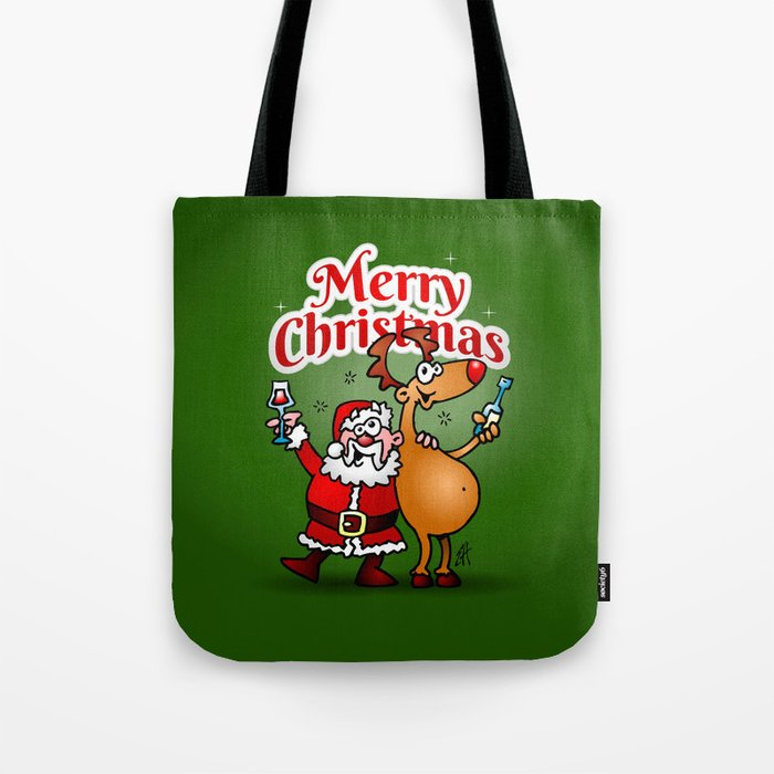 Merry Christmas - Santa Claus and his Reindeer Tote Bag