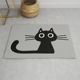 Quirky Black Kitty Cat Rug