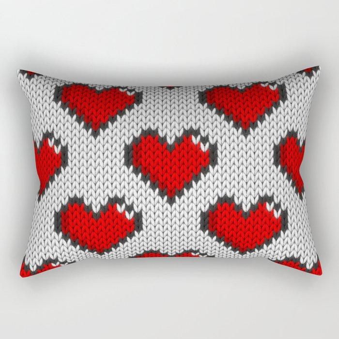 Knitted heart pattern - white Rectangular Pillow by knittedcake ...
