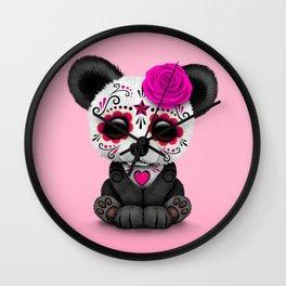 Pink Day of the Dead Sugar Skull Panda Wall Clock