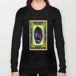 Purple Garden  Pansy Chartreuse & Blue, Brown Pattern Art Long Sleeve T-shirt