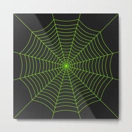 Neon green spider web Metal Print