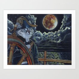 Sea Captain Cat Art Print