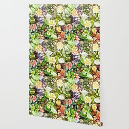 Scattered Blooms And Verdure Wallpaper