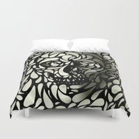 skulls Duvet Covers featuring Skull by Ali GULEC