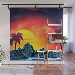 Sunset Vaporwave landscape with rocks and palms Wall Mural