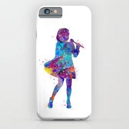 Singer Girl Art Colorful Blue Purple Artwork Artist Gift Kids Room Decor iPhone Case