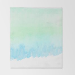 Hand painted turquoise teal blue watercolor ombre brushstrokes Throw Blanket
