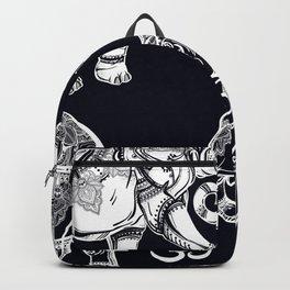 Elephants Pattern on Black Backpack