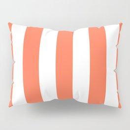 Outrageous Orange - solid color - white vertical lines pattern Pillow Sham