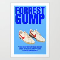 forrest gump Art Prints featuring Forrest Gump Movie Poster by FunnyFaceArt