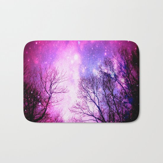 Black Trees Fuchsia Pink Space Bath Mat