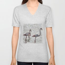 Three Flamingos Watercolor Unisex V-Neck