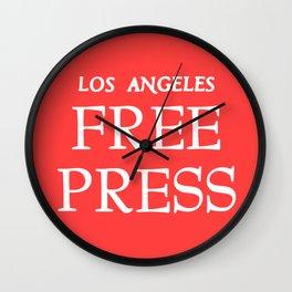 LA FreeP Logo - White on Red Wall Clock