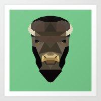 buffalo Art Prints featuring Buffalo by Alysha Dawn