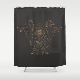 Wild Eyed Gemini - Vintage Black and Camel Shower Curtain