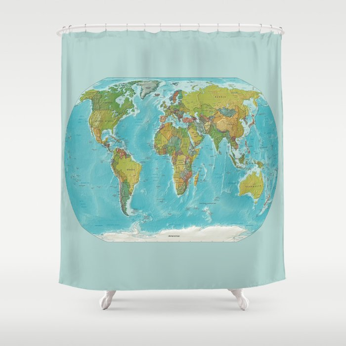 Topographic Map Of The World Shower Curtain By Lostuniverse