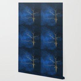 Kintsugi Electric Blue #blue #gold #kintsugi #japan #marble #watercolor #abstract Wallpaper