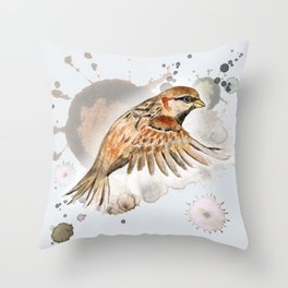 Flying sparrow Throw Pillow