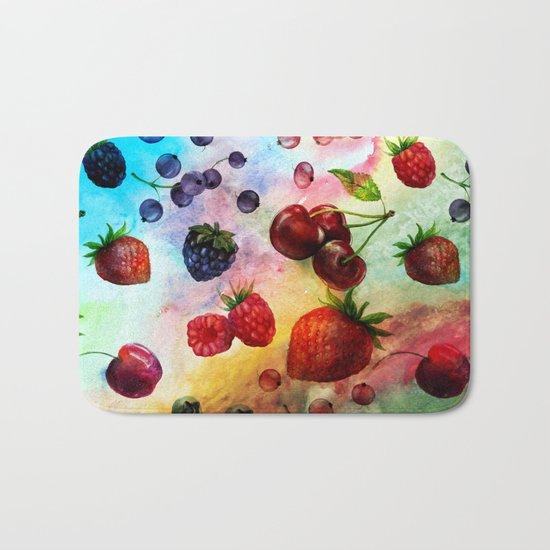 Summer fruits- Fresh strawberry berry pastel pattern Bath Mat