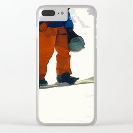 Ready to Ride! - Snowboarder Clear iPhone Case