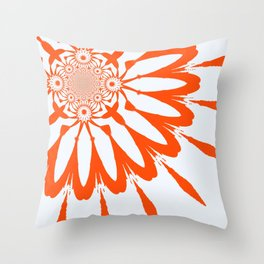 The Modern Flower White & Orange Throw Pillow