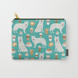 White Shepherd dog breed White German Shepherd coffee coffees pet friendly turquoise Carry-All Pouch