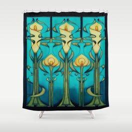Retro,art nouveau, art design, vintage,glass art,tulips,beautiful,flowers,floral,victorian,elegant,chic Shower Curtain