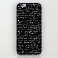 White French Script on Black background with White birds iPhone & iPod Skin