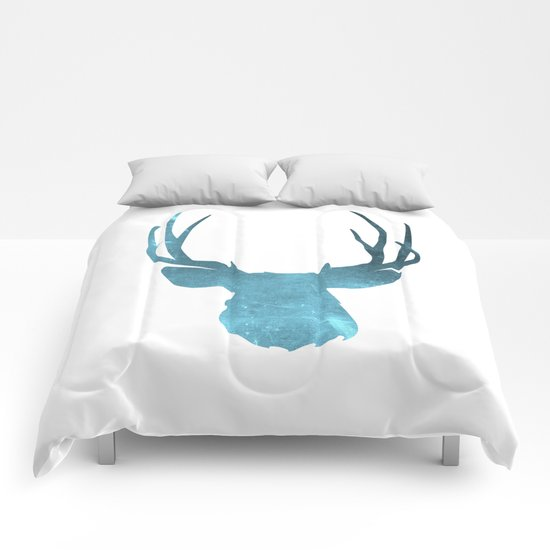 Deer head and stag simple illustration Comforters