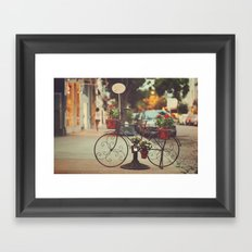 The bike with the flowers Framed Art Print
