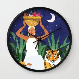 Tiger Camping, Wildlife Wild Jungle Illustration, Modern Bohemian Black Woman, Starry Night Moon Wall Clock