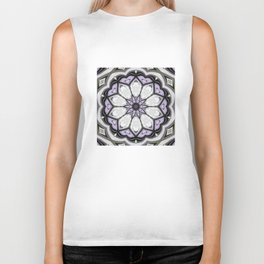 Ultra Violet Silver and Lilac Abstract Floral Pattern Biker Tank