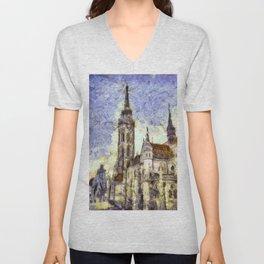 The Church Vincent Van Gogh Unisex V-Neck
