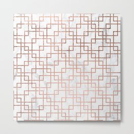 Modern rose gold geometric abstract square pattern on white marble Metal Print