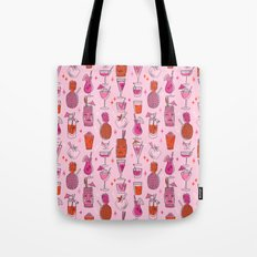 Tropical cocktails summer drinks pineapple tiki bar pattern by andrea lauren Tote Bag