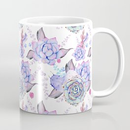 Modern pink lilac hand painted watercolor cactus flowers Coffee Mug