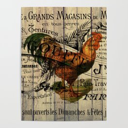 vintage typography barn wood shabby french country poulet chicken rooster Poster