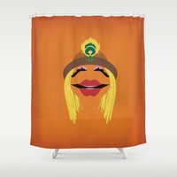 muppets Shower Curtains featuring The Muppets Show Vintage Art Janice Retro Style Minimalist Poster Print by The Retro Inc
