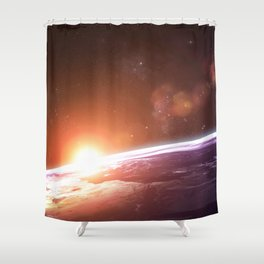 Earth and Rising Sun Shower Curtain