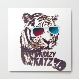 Crazy Tiger Metal Print