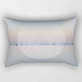 Calm Sea Sail Boats Geometric Nature Art Rectangular Pillow