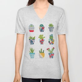 Funny cacti illustration Unisex V-Neck